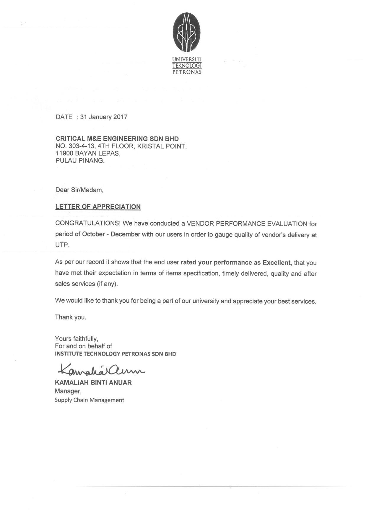 Letter Of Appreciation University Technology Petronas